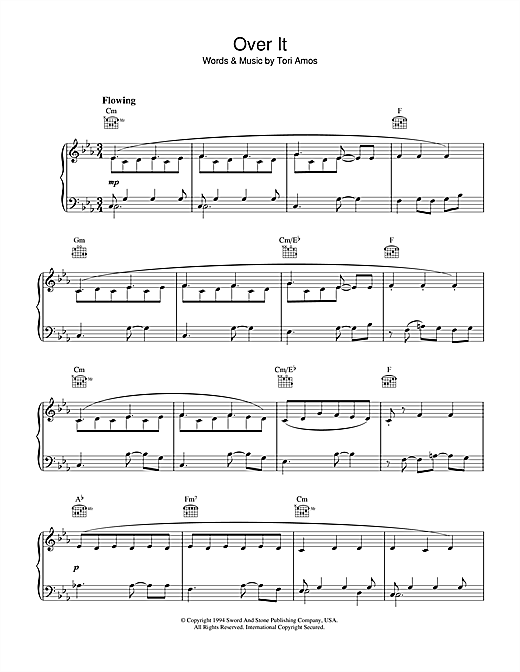 Tori Amos Over It sheet music notes and chords
