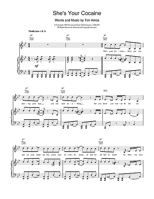 Tori Amos She's Your Cocaine sheet music notes and chords