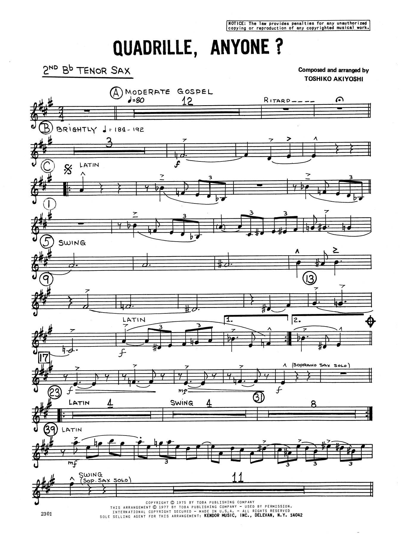 Toshiko Akiyoshi Quadrille, Anyone? - 2nd Bb Tenor Saxophone sheet music notes and chords. Download Printable PDF.