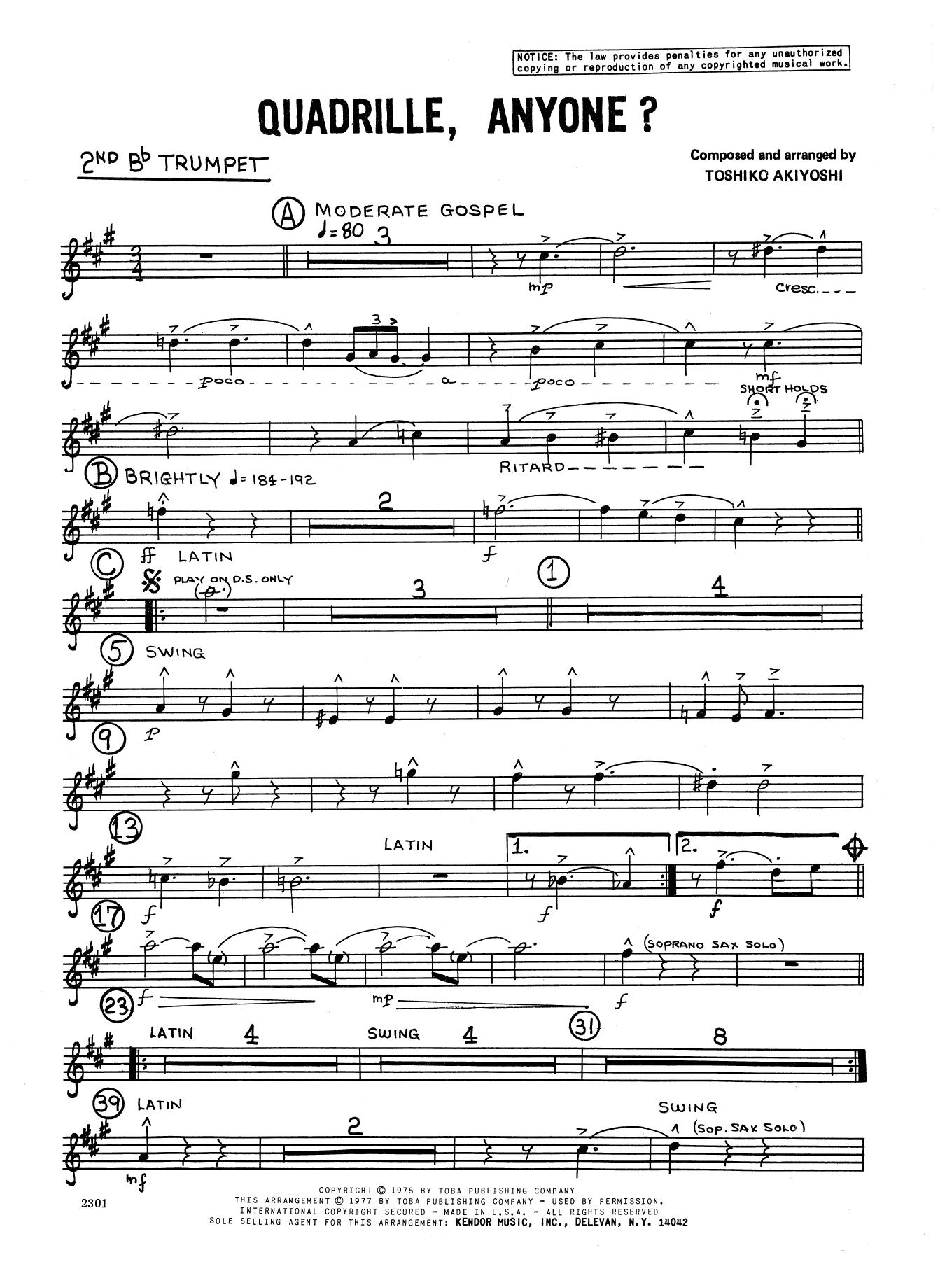 Toshiko Akiyoshi Quadrille, Anyone? - 2nd Bb Trumpet sheet music notes and chords. Download Printable PDF.
