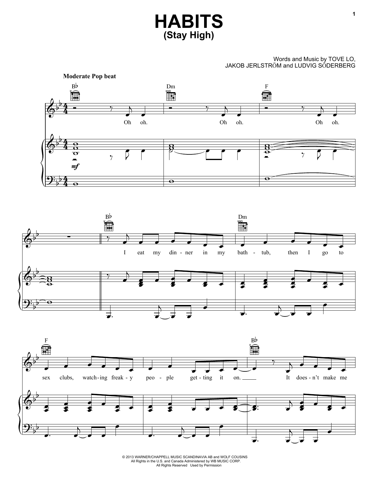 Tove Lo Habits (Stay High) sheet music notes and chords