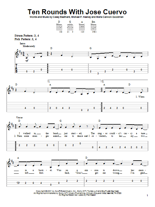 Tracy Byrd Ten Rounds With Jose Cuervo sheet music notes and chords. Download Printable PDF.