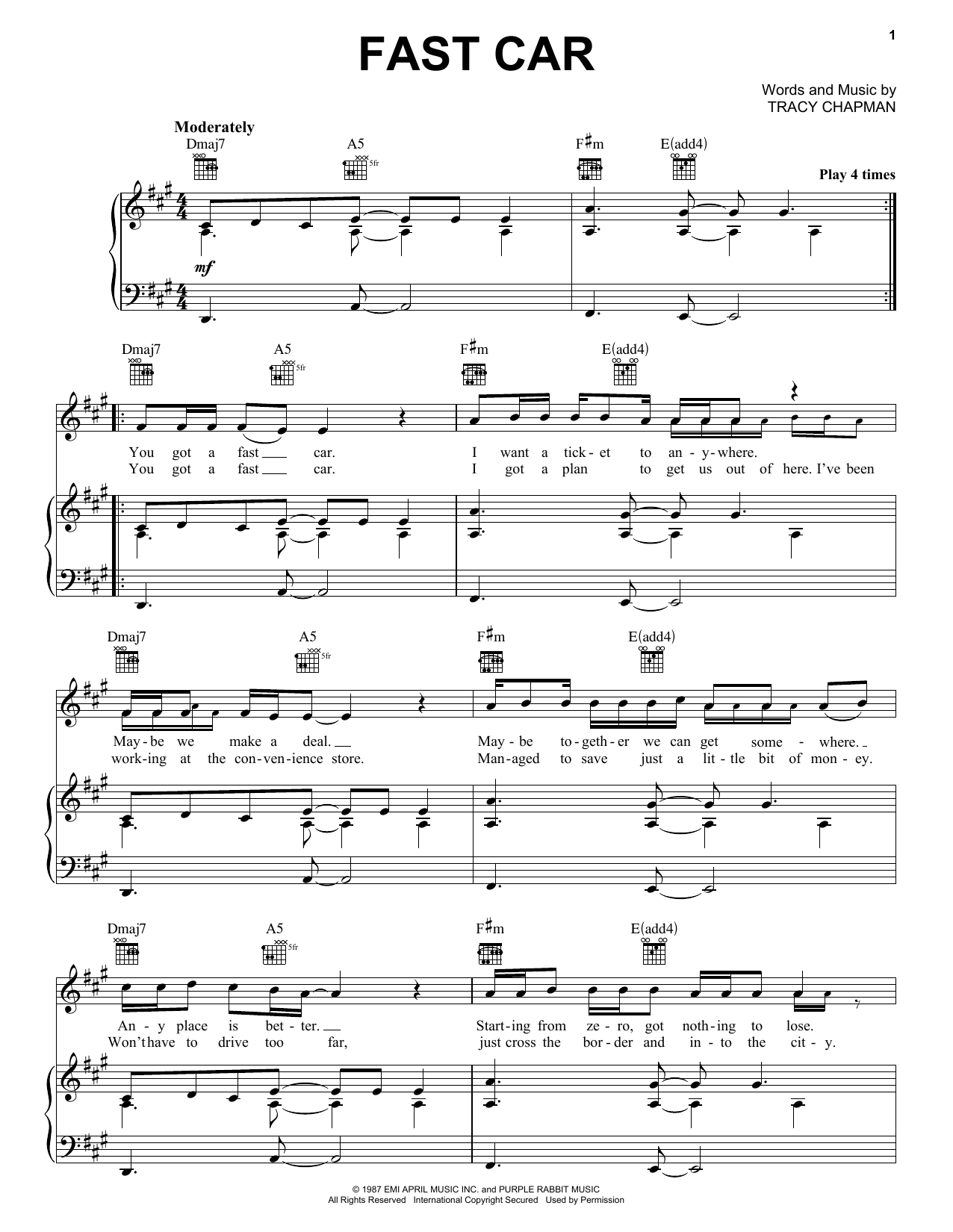 Tracy Chapman Fast Car sheet music notes and chords. Download Printable PDF.