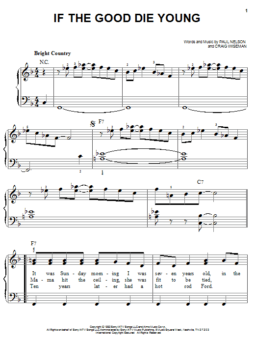 Tracy Lawrence If The Good Die Young sheet music notes and chords