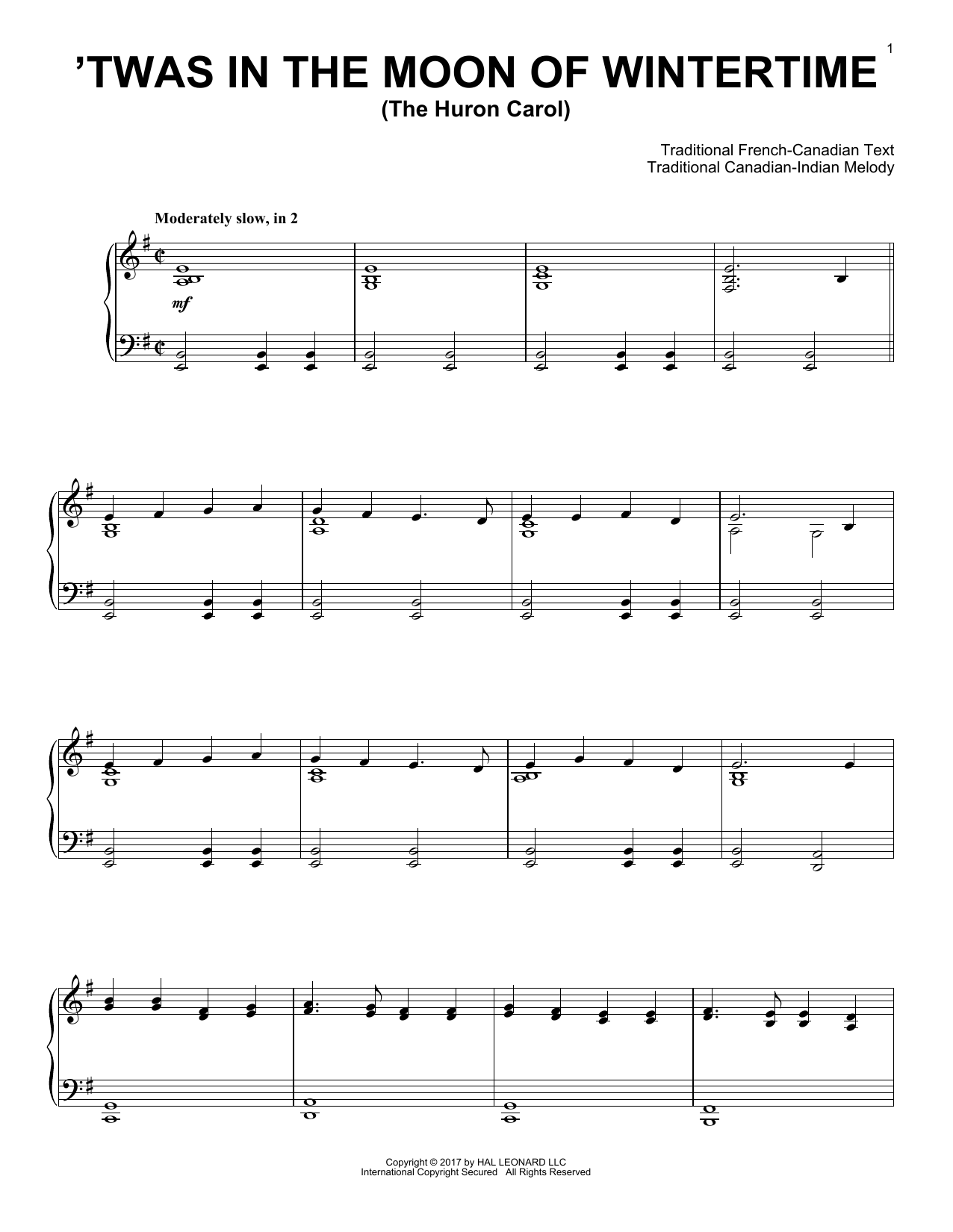Traditional The Huron Carol ('Twas In The Moon Of Wintertime) sheet music notes and chords. Download Printable PDF.