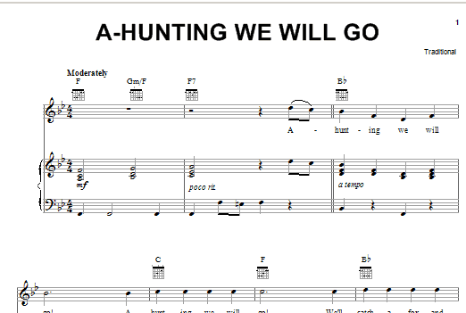 Traditional A-Hunting We Will Go sheet music notes and chords