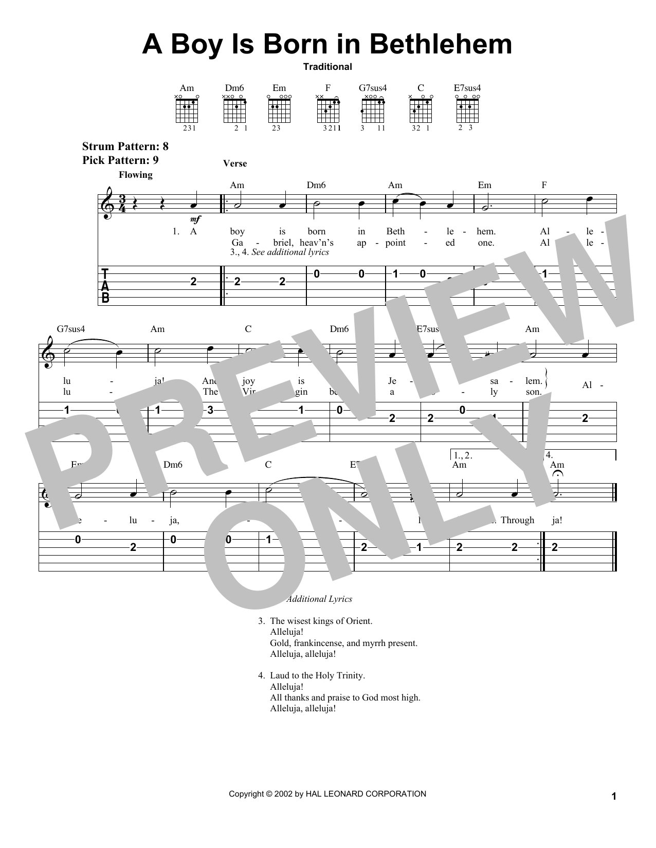 Traditional A Boy Is Born In Bethlehem sheet music notes and chords. Download Printable PDF.