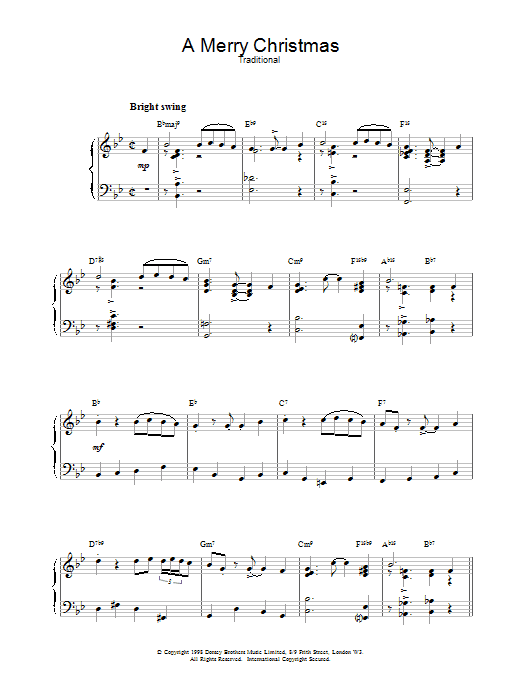 Christmas Carol A Merry Christmas (jazzy arrangement) sheet music notes and chords. Download Printable PDF.