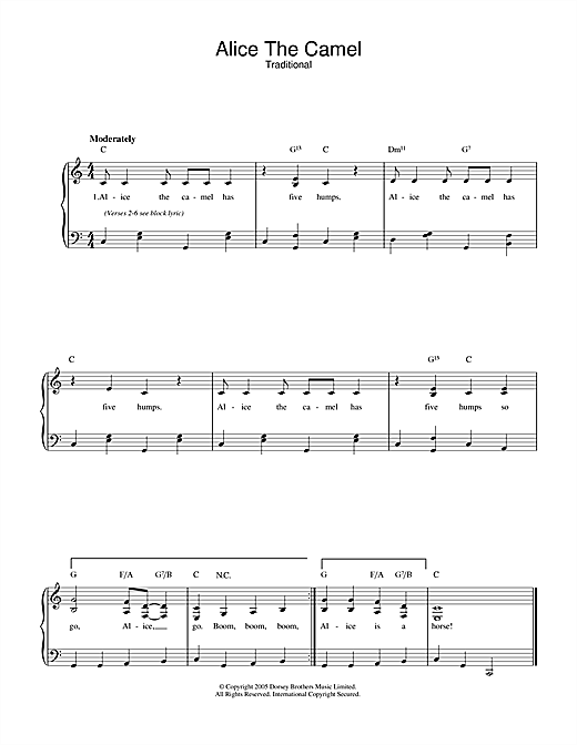 Traditional Alice The Camel sheet music notes and chords. Download Printable PDF.