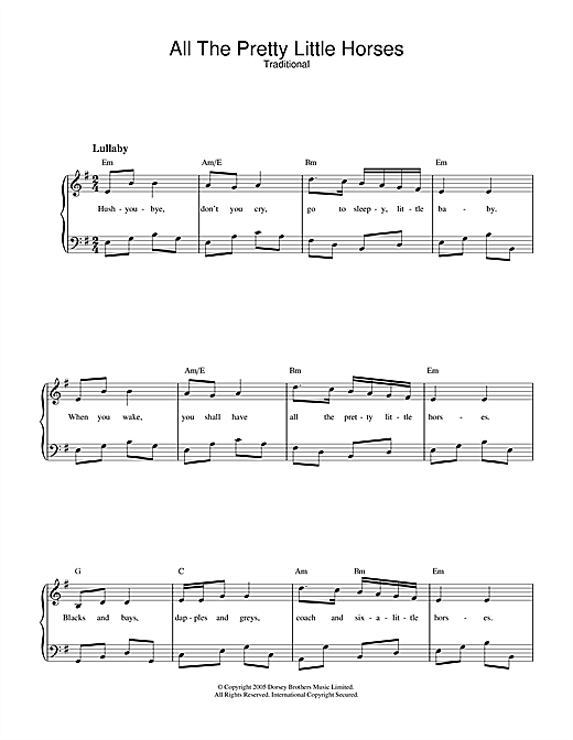Traditional All The Pretty Little Horses sheet music notes and chords. Download Printable PDF.