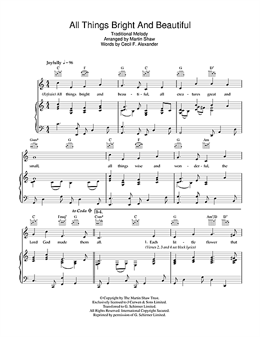Traditional All Things Bright And Beautiful sheet music notes and chords. Download Printable PDF.