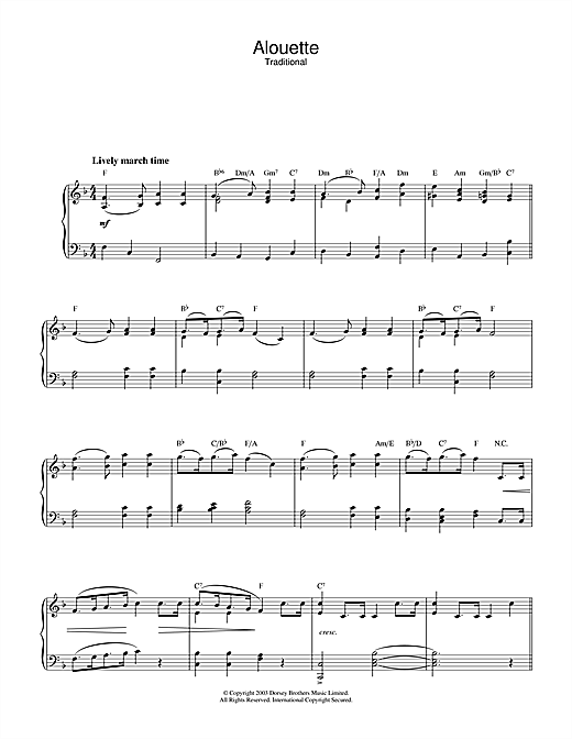 Traditional Alouette sheet music notes and chords. Download Printable PDF.