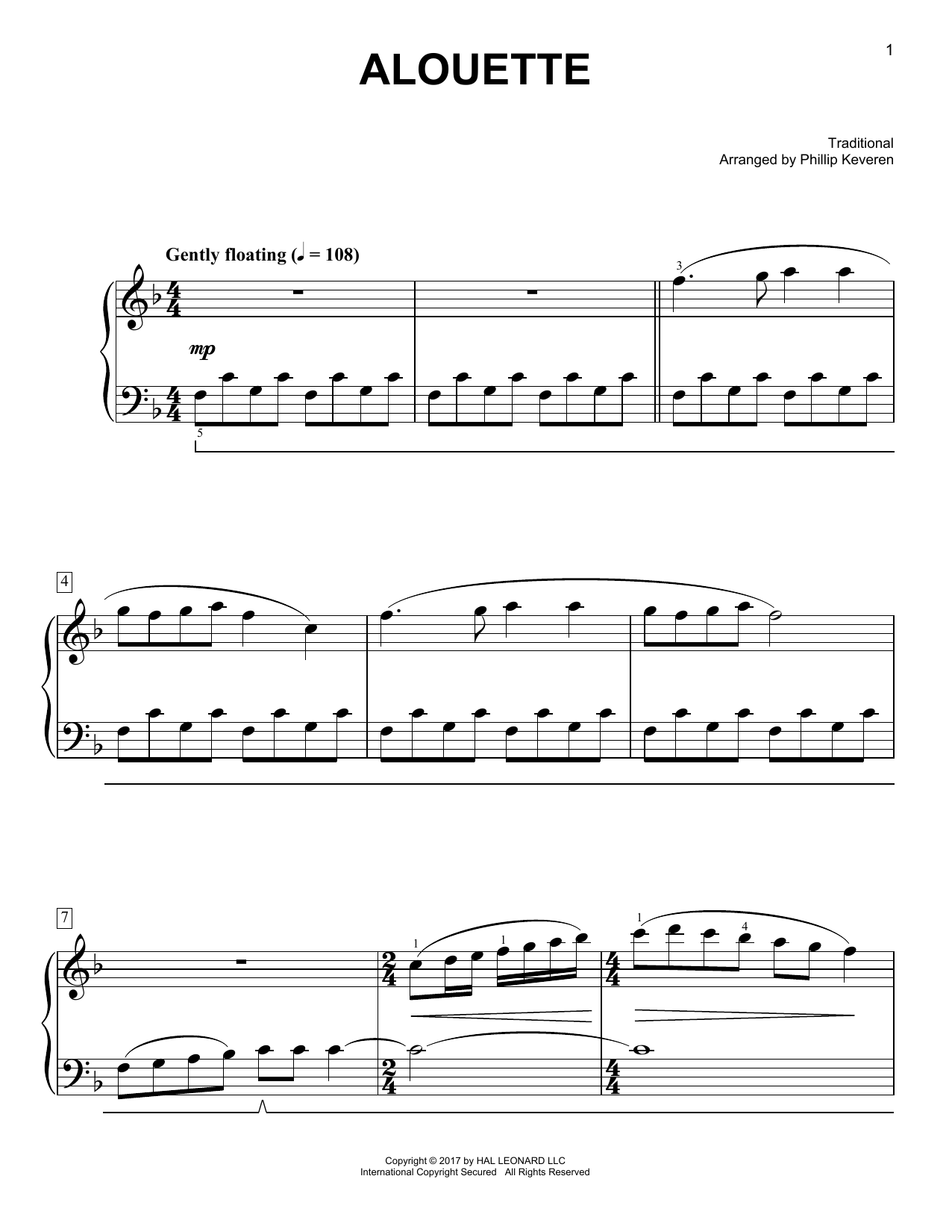 Traditional Alouette [Classical version] (arr. Phillip Keveren) sheet music notes and chords. Download Printable PDF.