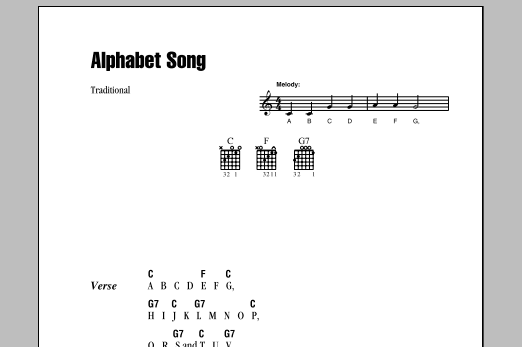 Traditional Alphabet Song sheet music notes and chords