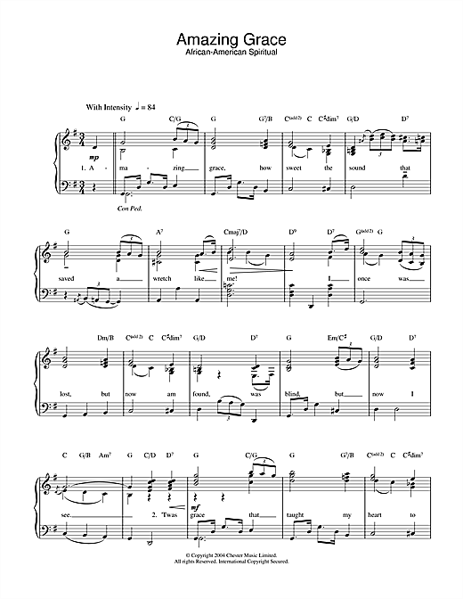 Traditional Amazing Grace sheet music notes and chords. Download Printable PDF.