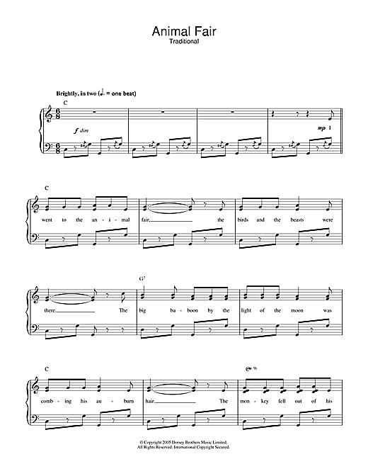 Traditional Animal Fair sheet music notes and chords. Download Printable PDF.