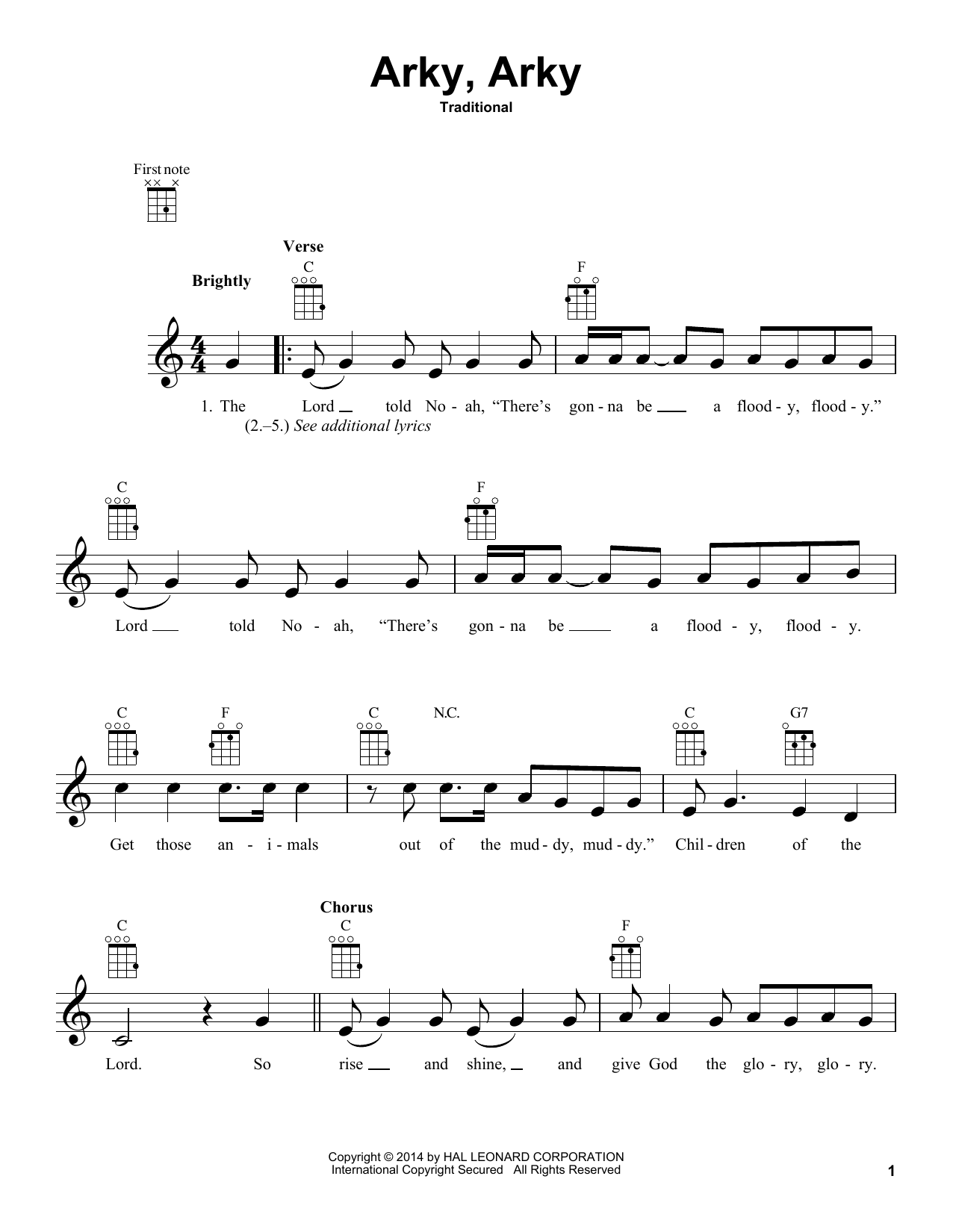 Traditional Arky, Arky sheet music notes and chords. Download Printable PDF.