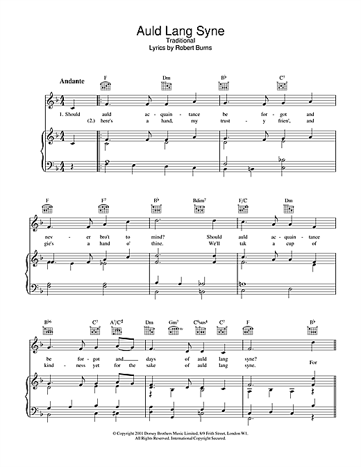 Traditional Auld Lang Syne sheet music notes and chords