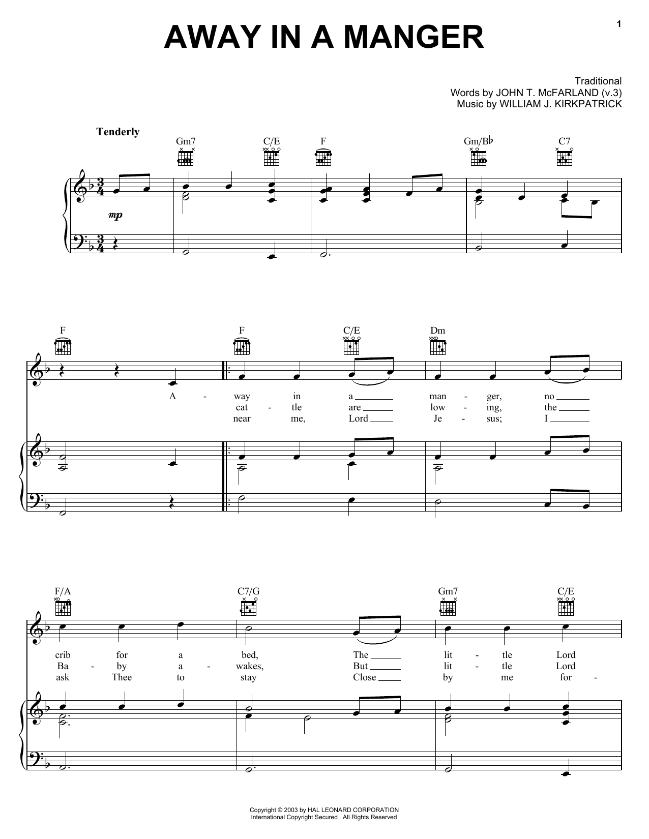 Traditional Away In A Manger sheet music notes and chords. Download Printable PDF.