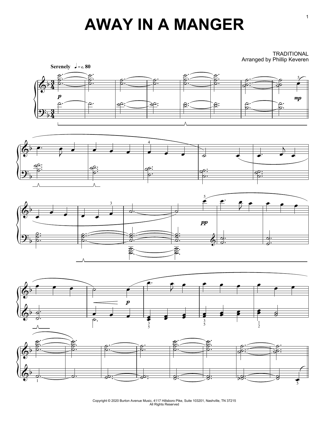 Traditional Away In A Manger (arr. Phillip Keveren) sheet music notes and chords. Download Printable PDF.