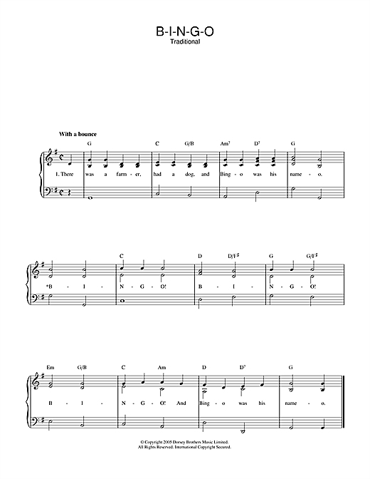 Traditional B-I-N-G-O sheet music notes and chords. Download Printable PDF.
