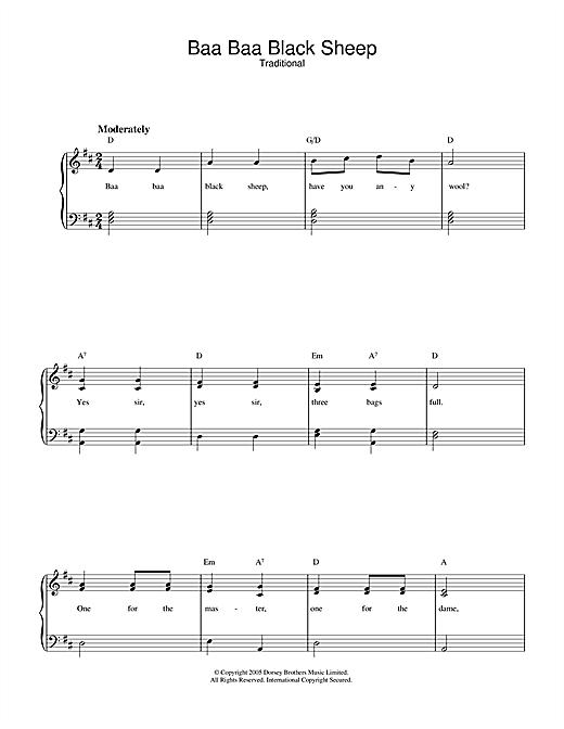 Traditional Baa Baa Black Sheep sheet music notes and chords. Download Printable PDF.