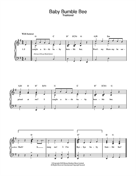 Traditional Baby Bumble Bee sheet music notes and chords. Download Printable PDF.
