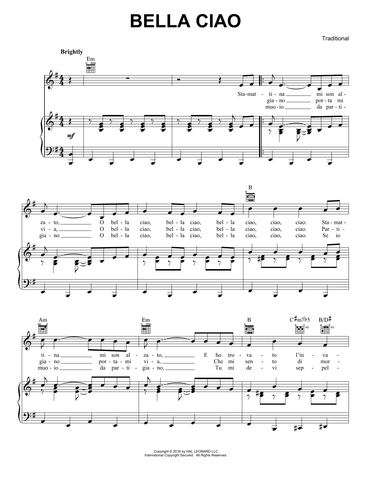 Traditional Bella Ciao Sheet Music Pdf Notes Chords Traditional Score Piano Vocal Guitar Right Hand Melody Download Printable Sku 405554