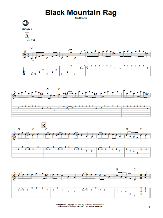Traditional Black Mountain Rag sheet music notes and chords. Download Printable PDF.
