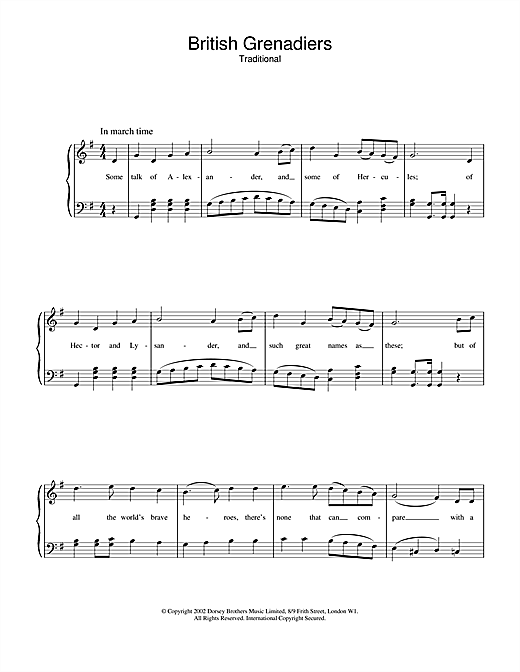 Traditional British Grenadiers sheet music notes and chords. Download Printable PDF.