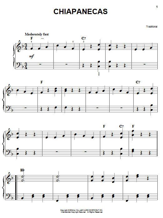 Traditional Chiapanecas sheet music notes and chords