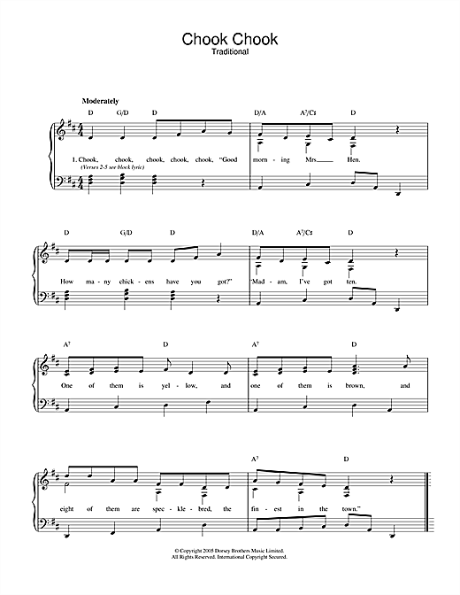 Traditional Chook Chook sheet music notes and chords. Download Printable PDF.