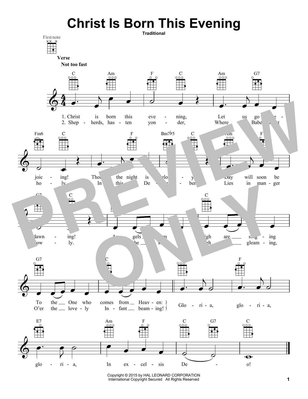 Traditional Christ Is Born This Evening sheet music notes and chords. Download Printable PDF.