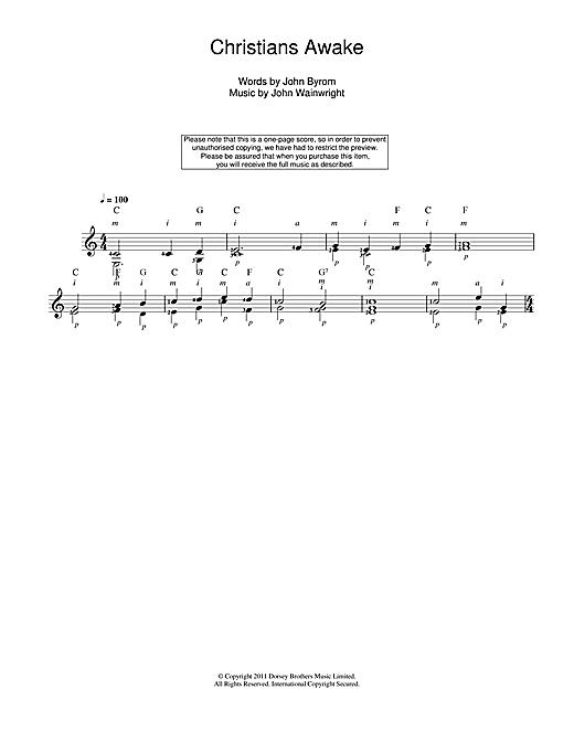 Christmas Carol Christians Awake sheet music notes and chords. Download Printable PDF.