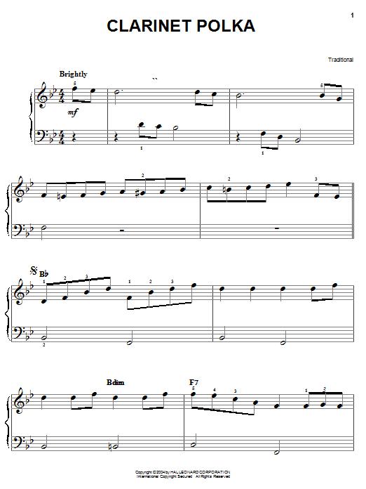 Traditional Clarinet Polka sheet music notes and chords. Download Printable PDF.
