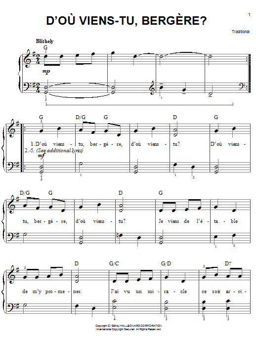 Traditional D'ou Viens-Tu, Beregere? sheet music notes and chords. Download Printable PDF.