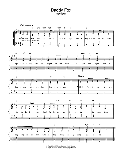 Traditional Daddy Fox sheet music notes and chords. Download Printable PDF.