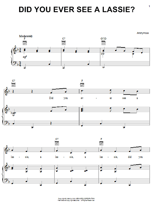 Traditional Did You Ever See A Lassie? sheet music notes and chords