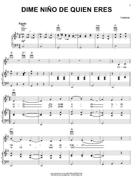 Traditional Dime Nino De Quien Eres sheet music notes and chords