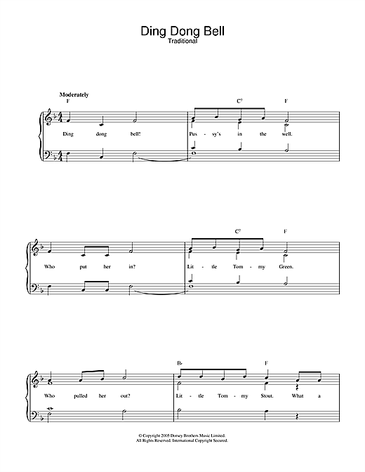 Traditional Ding Dong Bell sheet music notes and chords. Download Printable PDF.
