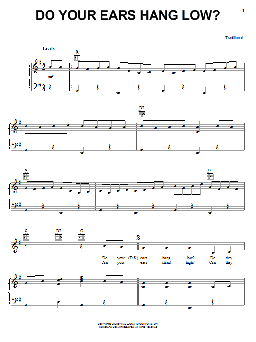 Traditional Do Your Ears Hang Low? sheet music notes and chords. Download Printable PDF.