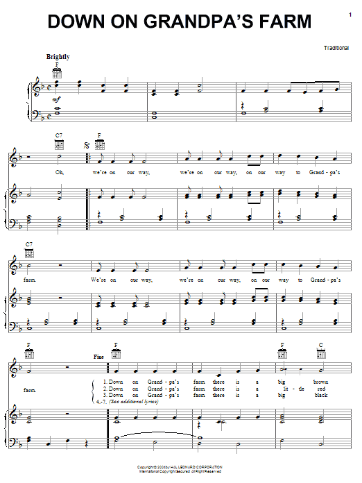 Traditional Down On Grandpa's Farm sheet music notes and chords. Download Printable PDF.