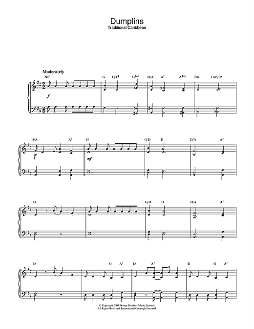 Traditional Dumplins sheet music notes and chords