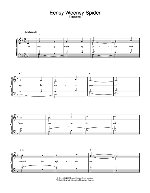 Traditional Eensy Weensy Spider sheet music notes and chords. Download Printable PDF.