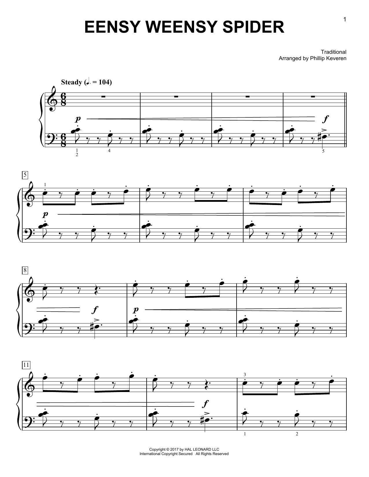Traditional Eensy Weensy Spider [Classical version] (arr. Phillip Keveren) sheet music notes and chords. Download Printable PDF.