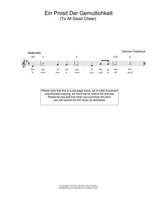 Traditional Ein Prosit Der Gemütlichkeit sheet music notes and chords. Download Printable PDF.