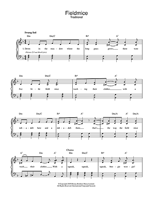 Traditional Fieldmice sheet music notes and chords. Download Printable PDF.