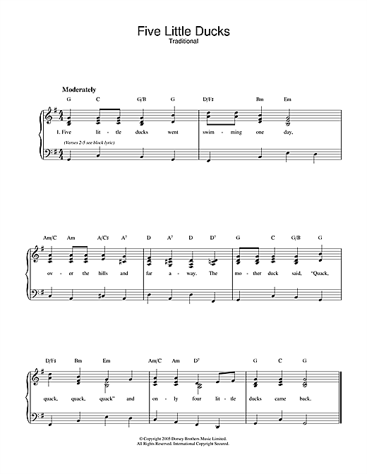 Traditional Five Little Ducks sheet music notes and chords. Download Printable PDF.