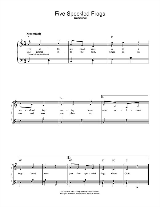 Traditional Five Little Speckled Frogs sheet music notes and chords. Download Printable PDF.