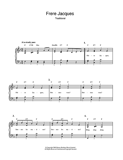 Traditional Frere Jacques (Are You Sleeping?) sheet music notes and chords. Download Printable PDF.